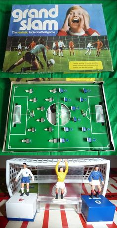"Anyone that had this game will always remember just how long it took to smooth out the crease in the pitch. Sometimes you could take advantage of the ""local curve"" to beat an unsuspecting opponent. Looking back on the size of the goal keepers it's a surprise that any goals were actually scored. Childhood Games, My Childhood Memories, 1960s Toys, 1970s, Peter Et Sloane, Table Football, Soccer Pictures, Vintage Games, Old Toys"