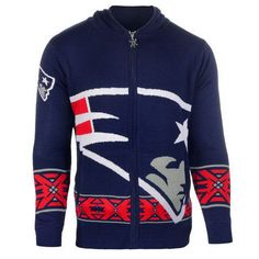 New England Patriots Team Logo Full Zip Hooded Sweater