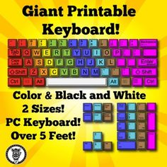 Are you teaching a technology or keyboarding class? Do you have a computer lab you need to decorate? This giant printable keyboard would be great to print out, cut the keys apart, laminate and place on your wall. Comes in two sizes, works great with takeout boxes. PC Keyboard.