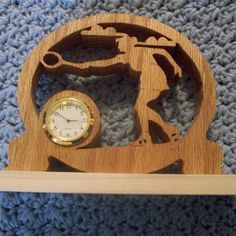 Female Tennis player miniature wooden clock by Fine Crafts on Opensky