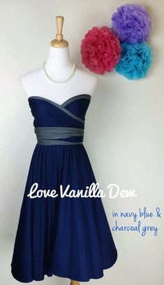 Bridesmaid Dress Infinity Dress Charcoal Grey by LoveVanillaDew