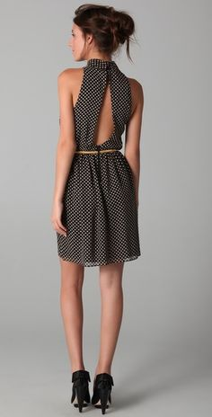 Alice + Olivia, Mikaela Polka Dot Dress with Belt.  Love the back of the dress.