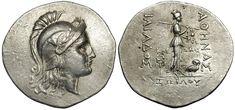Silver tetradrachm Head of Athena in Attic helmet. Reverse female figure and owl inscription ΙΛΙΑΔΟΣ ΑΘΗΝΑΣ, ΚΛΕΩΝΟΣ ΙΛΙΟΥ 188 – 160 BC.