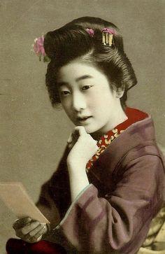 GEISHA LOOKING AT PHOTOGRAPHS (6) -- Posthumously Awarded Full Membership in Flickr by Okinawa Soba, via Flickr