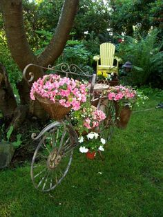 Just look at this bicycle turned into a container for beautiful flowers.....I post anything and everything that I love.