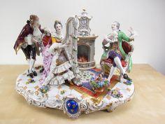 Huge Antique Volkstedt Dresden Porcelain Figural Lace Plateau Center 19x13x10 | eBay