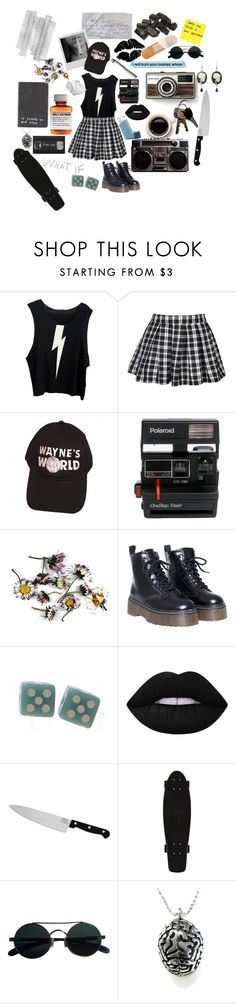 """I'm A Psycho"" by causingpanicatthetheater on Polyvore featuring Børn, Wildfox, Polaroid, Lime Crime and Chicago Cutlery"