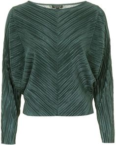 Womens bottle green pleat batwing top - sage, sage from Topshop - £28 at ClothingByColour.com Batwing Top, Green Fashion, Bat Wings, Sage, Topshop, Men Sweater, Bottle, Sweaters, Clothes