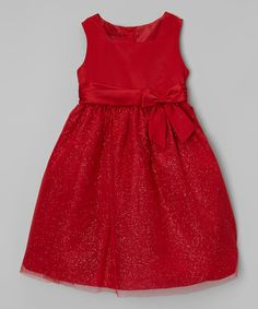 Look at this Red Glitter Overlay Dress - Toddler