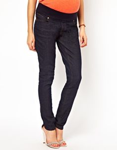Image 1 ofNew Look Maternity Rinse Wash Skinny Jeans