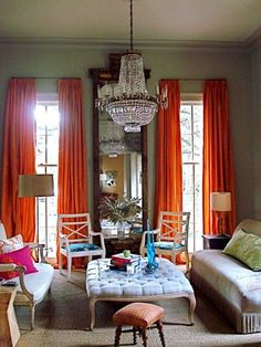 orange curtains are close to Pantones new color. Everything I read says color is coming back! This looks like New Orleans to me.