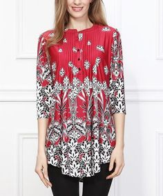 Look at this Red Fleur-de-Lis Notch Neck Tunic - Women on today! Floral Tops, Floral Prints, Current Fashion Trends, Style Guides, Stitch Fix, That Look, My Style, Blouse, Red