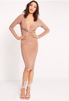 look totally on point this season in this slinky rose bodycon beaut. we're vibin all over this long sleeved number with luxe knot front feature, v-neck neckline and smokin' long sleeve details this dress will ensure you're killin' i...