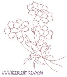 Free Hand Embroidery Pattern: Carnations