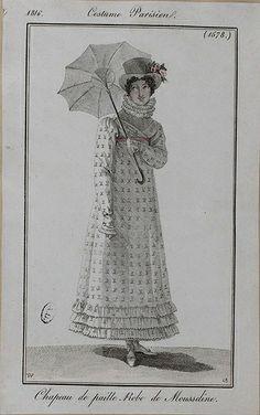 1816 Costume Parisien. Hat of straw. Muslin dress.