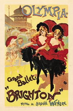 French theater and exhibition poster features 2 identical girls dancing with parasol while children look on dancing with them. Olympia Grand Ballet Brighton original vintage Maitre De L Affiche poster Plate 35 by Pal from 1896 France Long John Silver, Brighton, Vintage French Posters, French Vintage, French Art, French Style, Vintage Modern, Vintage Wood, French Country