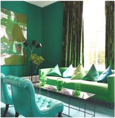 Interior colors are emerald green sofa table couch artwork idea Living Room Inspiration, Luxury Living Room Design, Blue And Green Living Room, Green Interiors, Mint Green Walls, Living Room Green, Living Room Designs, Green Painted Walls, Colorful Interiors