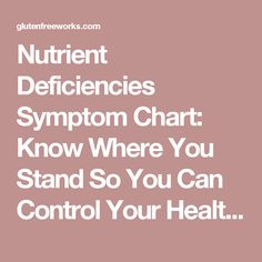 Nutrient Deficiencies Symptom Chart: Know Where You Stand So You Can Control Your Health | Gluten Free Works