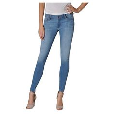 Women's Fidelity Ace Mid Rise Ultra Slim Jeans in Zen Powder - Denim... via Polyvore