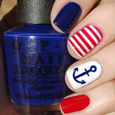 "❤️⚓️Nautical nails!⚓️❤️ I came up with a second anchor manicure that I will post next. I can't decide which I like better so let me know what you think! Products used: @opi_products 'Umpires Come Out At Night' 'OPI Red' and 'Alpine Snow' <a href=""/sechenails/"" title=""Seche Nails"">@Seche Nails</a> Seche Vite from <a href=""/hbbeautybar/"" title=""HB Beauty Bar"">@HB Beauty Bar</a>❤️"