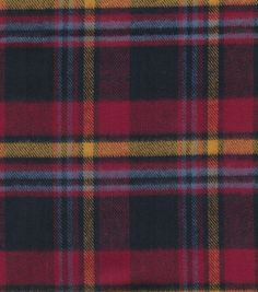 Plaiditudes Collection -  Brush Cotton Black Red, Gold