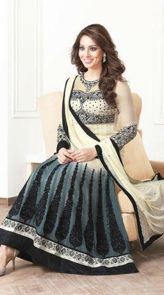 Bipasha Basu In Grey And Cream Salwar Kameez BR100438