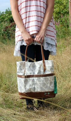 Hand-stamped Canvas and Leather Whale Tote with mint hand-stitched arrow & green leather detachable tassel