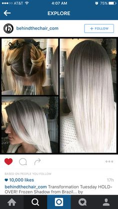 How beautiful is this! Black brown to silver white blonde platinum ombré hair
