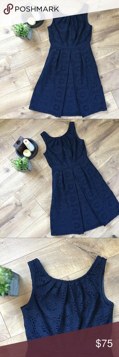 ADRIANNA PAPELL Lace Fit & Flare Navy Dress - 10 ADRIANNA PAPELL Lace Fit & Flare Navy Dress - 10. Excellent condition, only been worn once. Measures 39 inches in length. Adrianna Papell Dresses