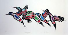 'Hummingbirds' - Northwest Coast Native Art (by Ben Houstie) top horizontal… Inuit Kunst, Arte Inuit, Arte Haida, Haida Art, Inuit Art, Native American Design, American Indian Art, Arte Tribal, Tribal Art