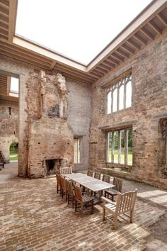 Photos: The Astley Castle's stunning renovation.  The courtyard has a functional fireplace. It would be hard to resist the appeal of a late dinner with a roaring fire under a clear night sky. The architects created a model of the castle in order to test leaving this area open to the elements and to demonstrate that the courtyard would be well lit, even without a roof.