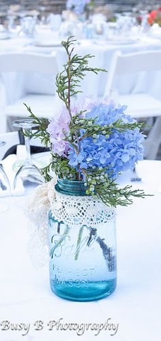 hydrangea in antique blue ball jars....except maybe in purple....
