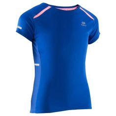 Meisjes T-shirt voor hardlopen Kalenji Kiprun blauw - 1137384