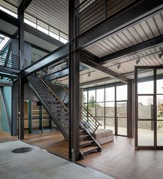 Contemporary Industrial House Features an Expressive Interior of Raw Steel - Steel frame house - Industrial Home Design, Industrial Architecture, Industrial House, Modern Architecture, Modern Buildings, Modern Industrial, Steel Frame House, Steel House, Steel Building Homes