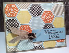 Stampin Up Six Sided Sampler & hexagon punch sympathy card - lovely colours & design