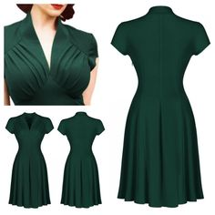 Sultry 1940s-inspired hunter green a-line dress with a deep v neckline, ruched bodice and wide high waist. Lovely cap sleeves, softly pleated skirt. Unlined.