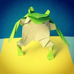 """""""Frog designed by Teruo Tsuji. #origami #frog #foldoftheday #foldedbyme #paper #paperfolding #iphoneonly #instaorigami"""" Photo taken by @paul3065 on Instagram, pinned via the InstaPin iOS App! http://www.instapinapp.com (04/20/2015)"""