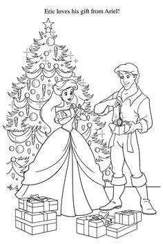 Little Mermaid Christmas Disney Coloring Pages
