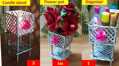3 in 1 Newspaper craft | newspaper organizer | newspaper flowerpot | new...