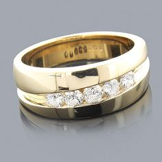 14K Gold Male Engagement Rings Collection Piece 0.44ct 5 Stone