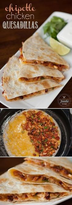 Chicken Quesadillas make great use of leftover shredded chicken for an incredibly delicious appetizer or tasty meal.Chipotle Chicken Quesadillas make great use of leftover shredded chicken for an incredibly delicious appetizer or tasty meal. I Love Food, Good Food, Yummy Food, Mexican Dishes, Mexican Food Recipes, Chicken Quesadillas, Spicy Chicken Quesadilla Recipe, Cooking Recipes, Dining