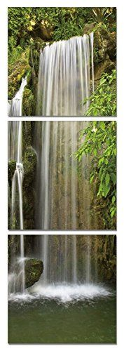 Streamline Waterfall Vertical 48 x 16 inches Ready to Hang Contemporary Art Modern Wall Decor 3 Panel Wood Mounted Giclee Canvas Print A1170S -- More info could be found at the image url.