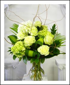 Mondial Roses & Green Hydrangea by Love In Bloom Key West