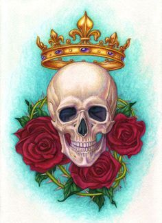 """Art print titled """"Crown, Skull and Roses"""" from the collection of """"Le Fantastical Fleurs"""" by artist Jane Starr Weils. Clown Tattoo, Skull Tattoos, Rose Tattoos For Men, Colorful Skulls, Sugar Skull Art, Sugar Skulls, Skull Artwork, Skull Wallpaper, Dark Thoughts"""