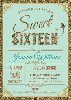 Glitter Sweet Sixteen Invitation. Sequin by ThePaperWingCreation