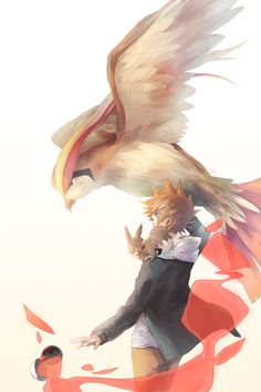 Pidgeot Gary Oak, Pidgeot, and Eevee