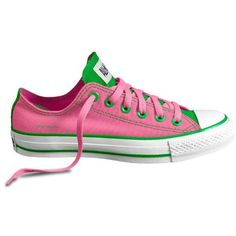Customized pink and green Chuck Taylors Aka Sorority, Alpha Kappa Alpha Sorority, Sorority Life, Pretty Girl Swag, Pretty In Pink, Everything Pink, Green Fashion, Girls Wear, Chuck Taylor Sneakers