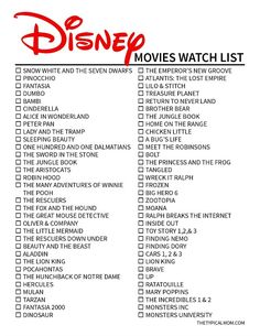 disney movies Disney original movies list is here so you can check off those classics youve seen and watch the others soon! We love all kinds of Disney printables.
