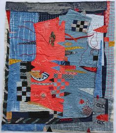 Galleries of textile artwork and art quilts by Helen Geglio. Textile Fiber Art, Textile Artists, Fibre Art, Boro, Textiles, Collages, Collage Art Mixed Media, Fabric Journals, Yellow Painting