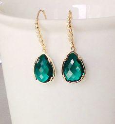 Groene bengelen oorbellen Emerald groen oorbellen kan